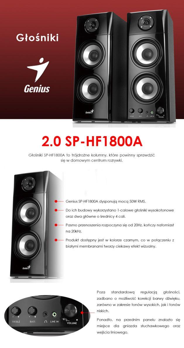 Głośniki Genius 2.0 SP-HF1800A informacje